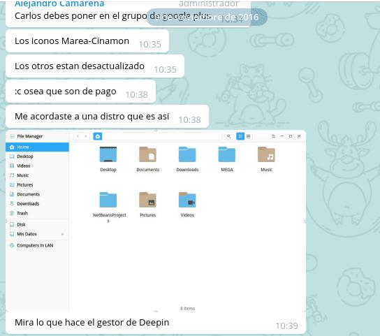 Primeros mensajes en el grupo Telegram