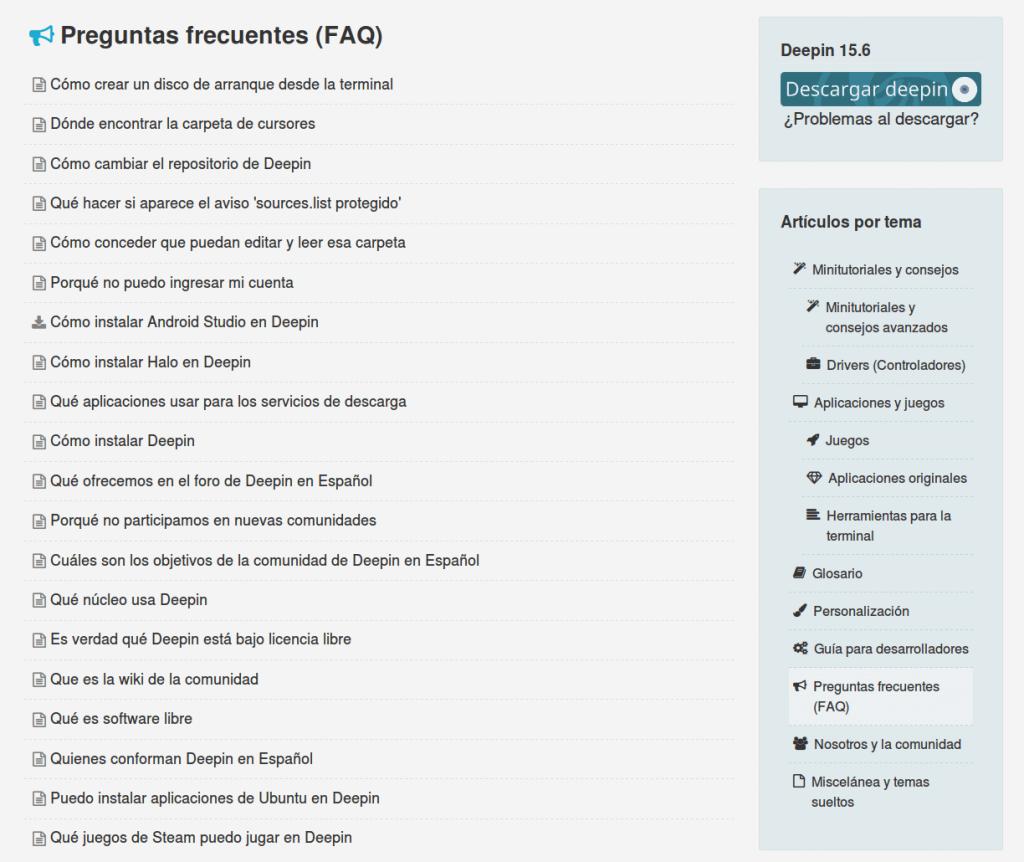 Vistazo a las categorías de la wiki de Deepin en Español