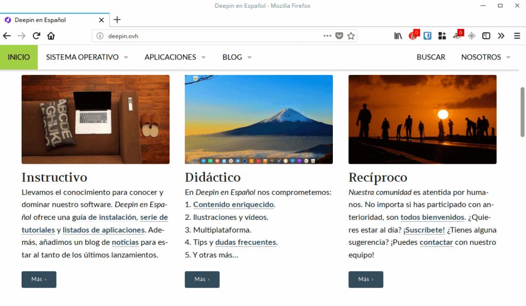 Deepin en Español en Firefox 57