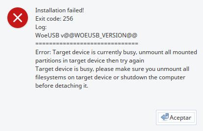 WoeUSB Error target device
