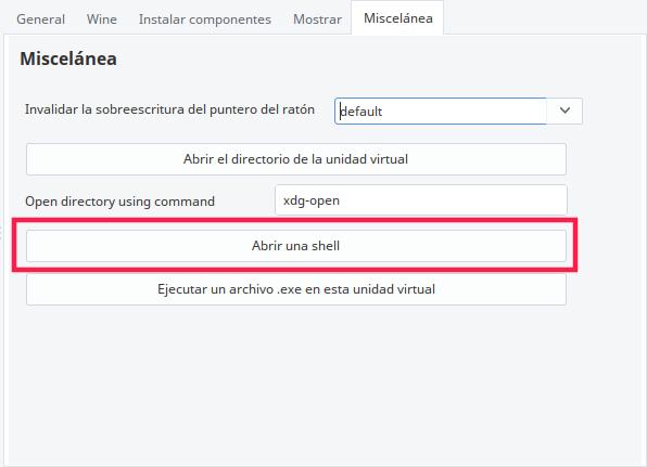 "Botón ""Abrir una shell"" en PlayonLinux"